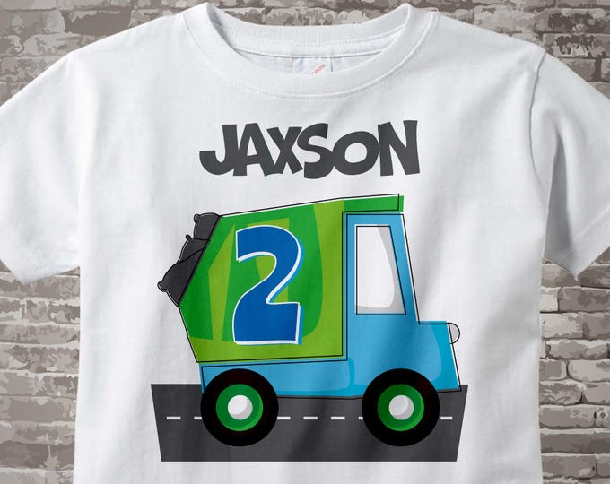 2nd Birthday Shirt, Personalized Boy's Second Birthday Garbage Truck Tee Shirt or Onesie 02252014c