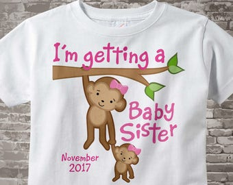 Personalized I'm getting a Baby Sister, Girls Tee Shirt or Onesie with Due Date of Baby Sister 03172014a