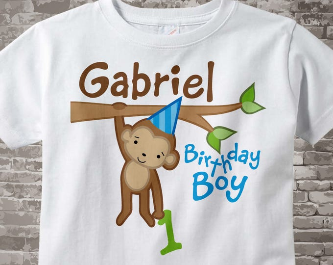 Monkey 1st Birthday White Cotton Shirt or Onesie Bodysuit for 1 year old boy, Personalized 05012014f