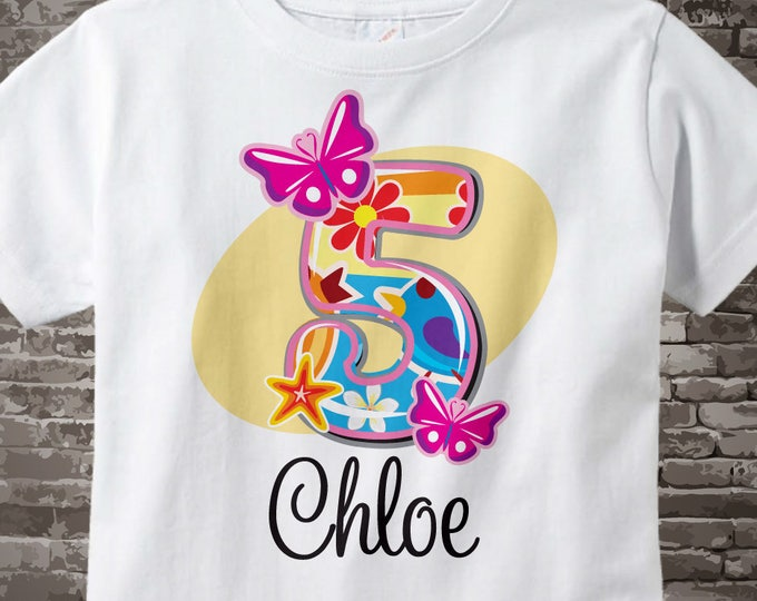 Five Year Old Shirt With Name Fifth Birthday Fancy Number 5th