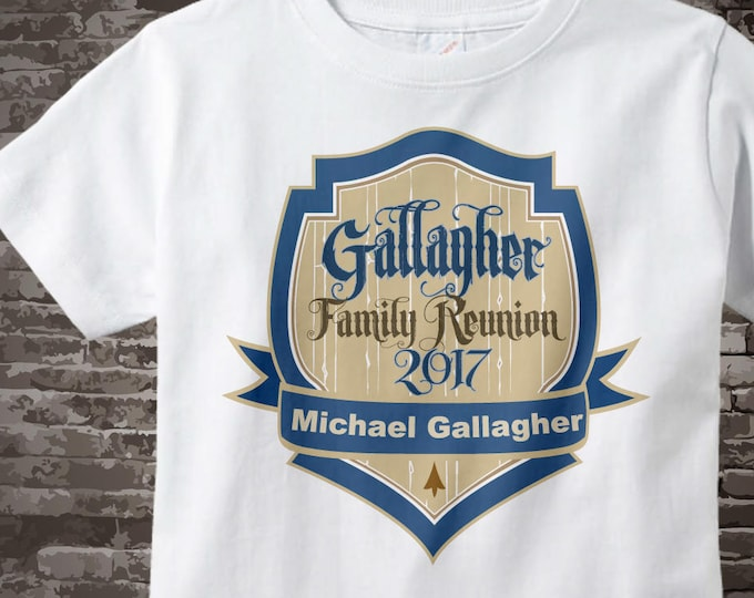 Family Reunion Shirt, Personalized Family Reunion Shield Onesie or Tshirt with name 07142011z