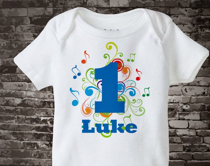 Music Themed First Birthday Onesie, Personalized Boy'd 1st Birthday Onesie 06062014bz