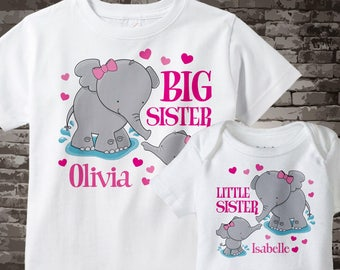 Matching Big Sister and Little Sister T-shirt and Onesie Bodysuit set with cute Elephants 03232012b