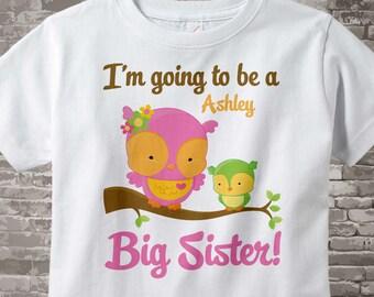 Big Sister Shirt I'm going to Be a Big Sister Owl Tee Shirt or Big Sister Onesie Pregnancy Announcement, Owl Big Sister 08082012b