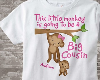 Monkey Big Cousin Shirt - This Little Monkey Going to be Big Cousin - Monkey Jungle Theme - Big Cousin Gift - Personalized Gift 10032013a