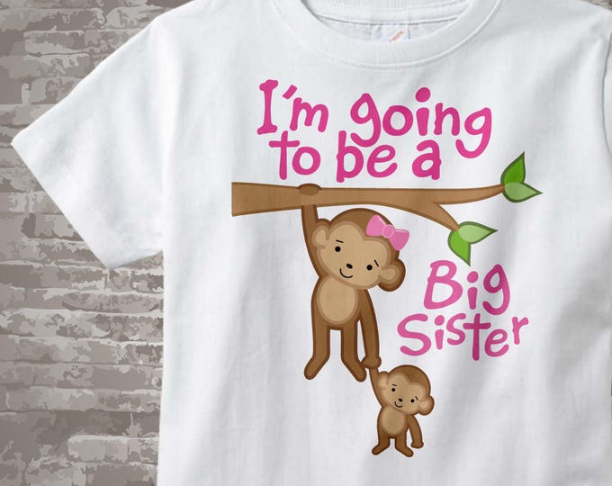 I'm Going to Be A Big Sister Shirt Big Sister Onesie, Personalized Monkey Shirt with Little Brother or Unknown Gender Baby TShirt 12132011a