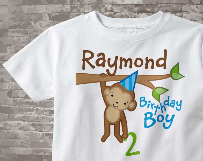 2nd Birthday Monkey Birthday Shirt, Personalized Second Birthday Boy Monkey Shirt or Onesie any age 12312013j
