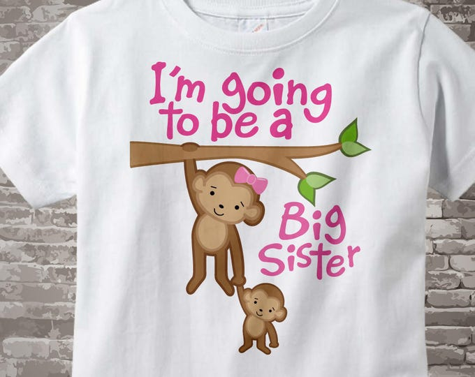 Big Sister Onesie - Big Sister tshirt - I'm Going to Be A Big Sister Onesie - Big Sister Announcement Shirt -Monkey Jungle Theme 12132011a