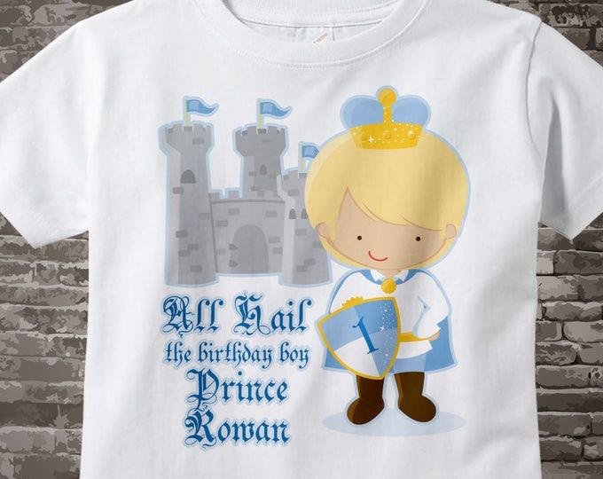 1st Birthday Shirt, Prince First Birthday Shirt, Personalized Cute Blonde Prince Birthday Boy Tee Shirt or Onesie 07062012b