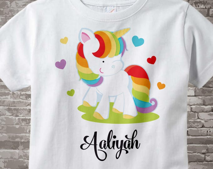 Personalized Rainbow Unicorn Shirt or Onesie, Girl's Unicorn Shirt, Rainbow Unicorn Theme 10132015b