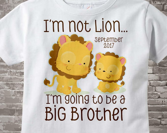 Big Brother Shirt, Boy's I'm not Lion I'm Going to Be A Big Brother Lion Tee Shirt or Onesie, Pregnancy Announcement 04172015i