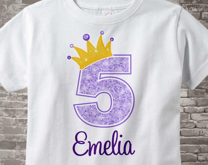 5th Birthday Shirt, Purple 5th Birthday Outfit top, Personalized Girls Birthday Shirt - 5th birthday girl - birthday girl gift - 08312016az