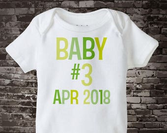 Neutral Baby Onesie or Tee Shirt with number of child and Due Date 09182015c