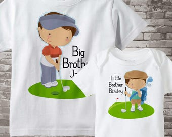 Big Brother Little Brother Outfit Shirt set of 2, Sibling Shirt, Personalized Tshirt Cute golfers, Shower Gift 05032017h