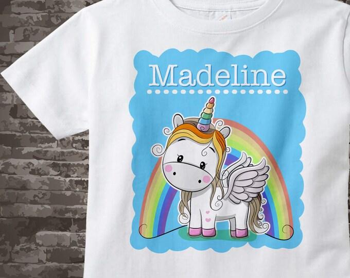 Unicorn Shirt for girls, Rainbow Unicorn Shirt or Onesie Bodysuit personalized with child's name, Cotton shirt or Onesie Bodysuit 11282017b