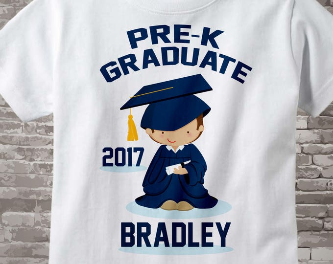 Boy's Personalized Pre-Kindergarten Pre-K Graduate Shirt Graduation Shirt Child's Back To School Shirt 02282014e