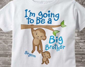 I'm Going to Be A Big Brother Shirt or Onesie, Personalized Big Brother, Monkey Shirt Baby Boy Clothing 10202011a