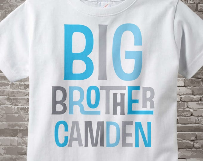 Personalized Big Brother Tshirt with Light Blue and Grey Letters 08302013a