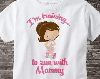 Personalized I'm Training to Run with Mommy Children's Tee Shirt or Onesie with Breast Cancer Pink Ribbon 07302014f