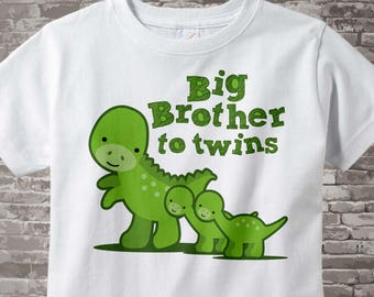 Big Brother to twins Shirt with Dinosaurs, with twin baby dinosaurs Tee Shirt or Onesie Pregnancy Announcement 11202014c