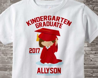 Kindergarten Graduate Shirt, Kindergarten Graduation Shirt, Personalized for your little girl with year and name 04102017h