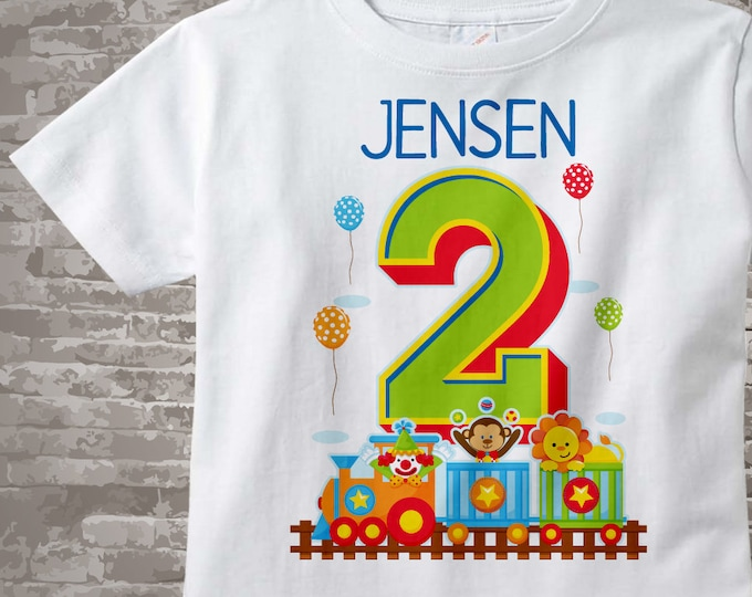 Circus Birthday Shirt with Name, two year old Second Birthday Shirt, Personalized Circus Theme Birthday Theme 07022015fz