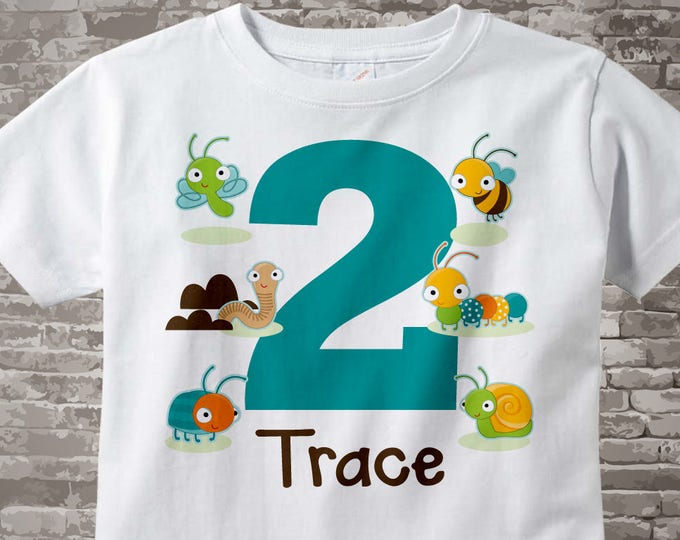 Boy's Two Year Old Bug Birthday Shirt or Onesie with Name, 2nd Birthday Shirt, Personalized Bug Birthday Theme 05122017b