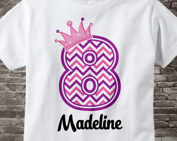 Eighth Birthday Shirt, Pink Chevron 8 Birthday Shirt, Any Age Personalized Girls Birthday Shirt Pink Age and Name Tee for kids 08062015j