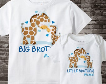 Set of Two, Personalized Big Brother and Little Brother Giraffes Shirt and Onesie 04152013j