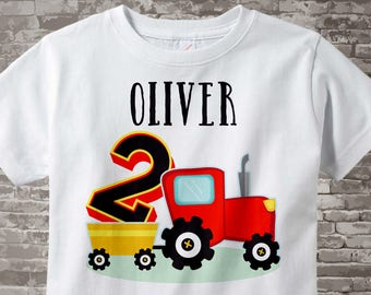 Second Birthday Red Farm Tractor Shirt or Onesie Bodysuit, 2 year old shirt or bodysuit, 2nd Birthday tractor Shirt or Onesie 08312015a