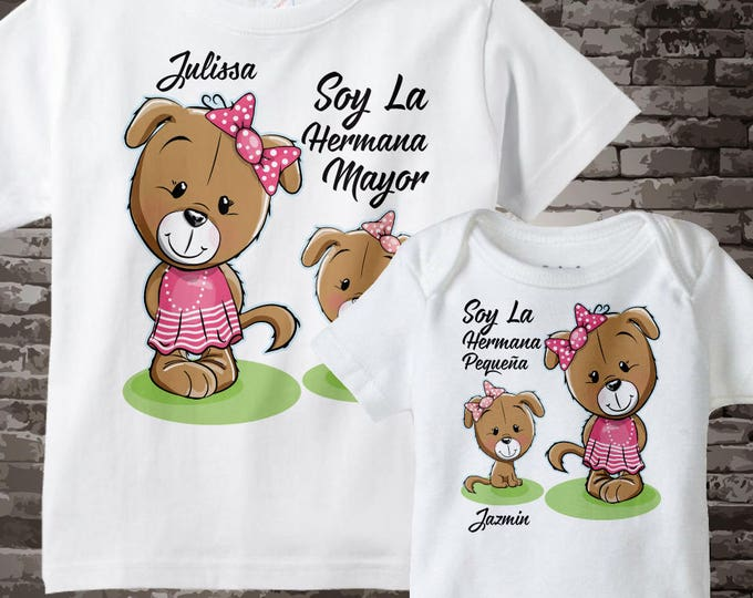 Big Sister Little Sister Spanish Shirt set of 2, Sister Puppy Shirt, Personalized Matching Sibling set 11222016f