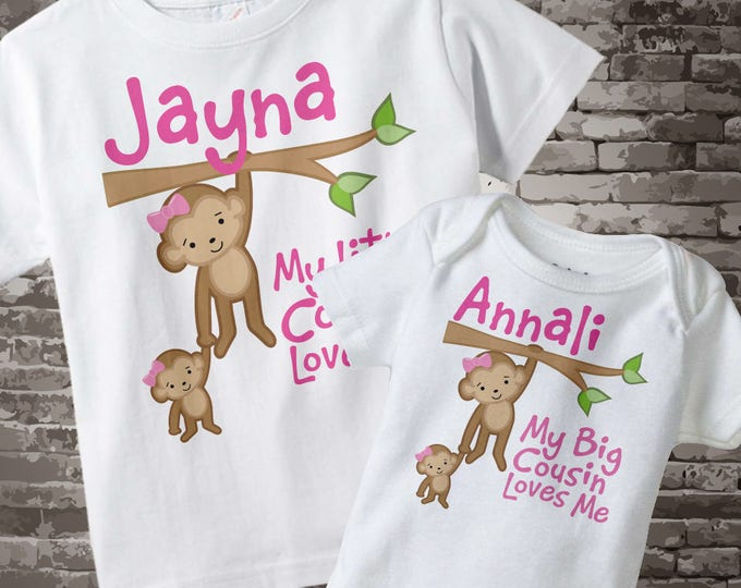 Set of Two My Little Cousin Loves Me and My Big Cousin Loves Me Monkey Girls Set of one tee and one onesie 11052013a