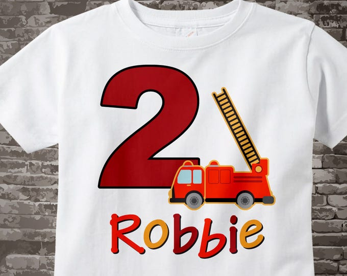 Second Birthday Fire Truck Shirt, Personalized 2 year old Fireman Shirt, 2nd Birthday Fire truck Shirt with childs name and age 02162015d