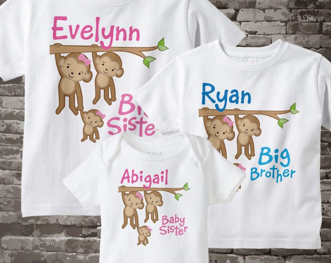 Sibling Monkey Shirt Set, Set of Three, Big Sister Shirt, Big Brother, and Baby Sister,  Personalized Shirt or Onesie 05052014e