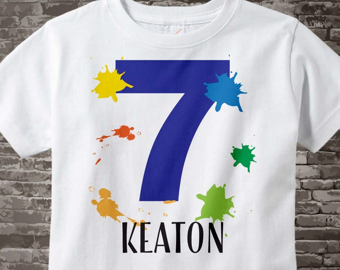 7th Birthday Shirt, Paint Themed Seventh Birthday Shirt, Number 7, Personalized Boy's Birthday T-shirt, Seven Year Old Kids Tee | 02282017b