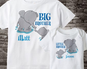 Set of Two Personalized Elephant Big Brother and Little Brother Shirt or Onesie Pregnancy Announcement 07302012a