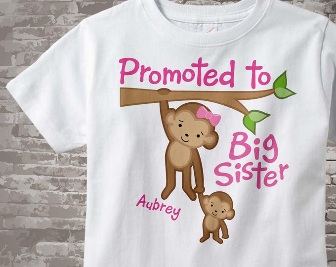 Promoted to Big Sister Shirt, Big Sister Onesie, Personalized Big Sister Shirt, Monkey Shirt with Baby Monkey 08222014e