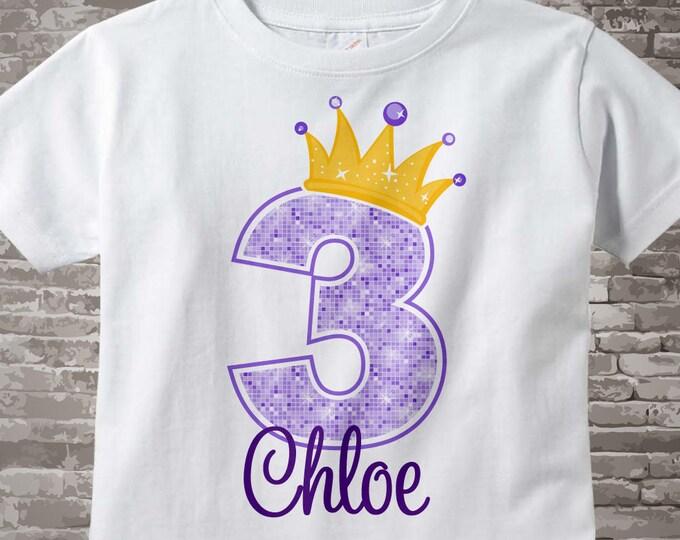 3rd Birthday Shirt or Onesie, Purple 3rd Birthday Outfit top, Girls Birthday Shirt - 3rd birthday girl - birthday girl gift - 01272016iz