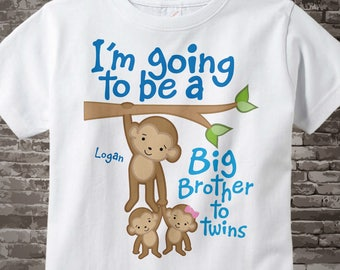 I'm going to be A Big Brother to Twins Shirt or Onesie with boy and girl twin, Big Brother Monkey with twin babies, Personalized | 06052014c