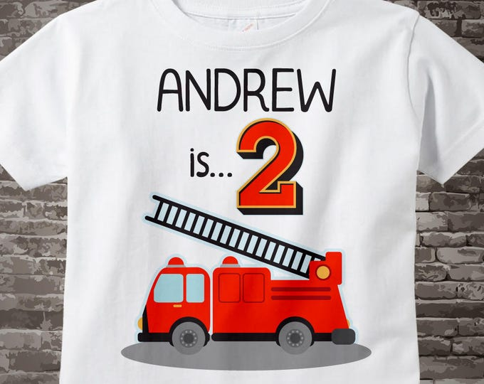 Birthday Boy Shirt - 2nd Birthday Fire Truck Shirt, Personalized Boys Second Birthday Shirt with Child's Name and age 05232017e