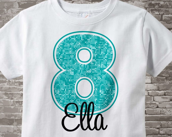 8th Birthday Shirt, Turquoise Eighth Birthday Shirt, Personalized Girls Birthday Gift, Light Teal Age and Name Turquoise Birthday 07102014j