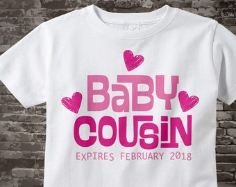 Baby Cousin Expires Shirt Or Onesie Bodysuit with Date of Expected new Cousin, Pink Hearts and wording for a girl cousin 09212017d