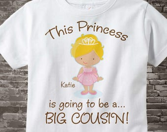 Princess Big Cousin Shirt - Girl's Blonde Princess is going to be a Big Cousin tShirt or Onesie, personalized cousin outfit top 06212013a