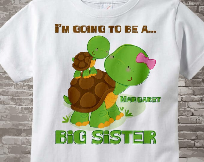 Personalized Big Sister Shirt - I'm going to be a big sister Turtle Shirt - Big Sister Onesie - Big Sister Turtle 04092012b