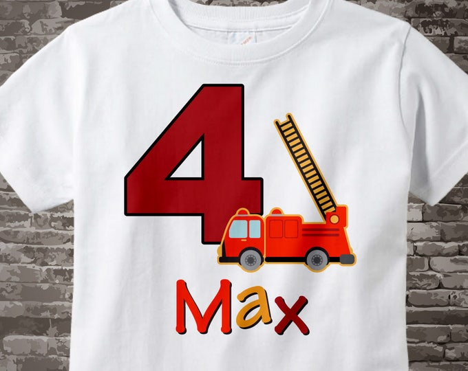 Fourth Birthday Fire Truck Shirt, Personalized 4 year old Fireman Shirt, 4th Birthday Fire truck Shirt with childs name and age 11152012a
