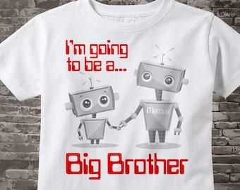 Big Brother Shirt, Big Brother Robot, Personalized Boy's Big Brother Robot tee shirt or Onesie 03312014c