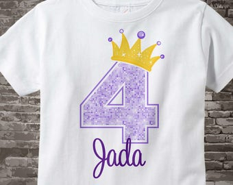 Girl's 4th Birthday White Cotton T-shirt with Purple 4 and Yellow Crown | Personalized with her name 01272016h
