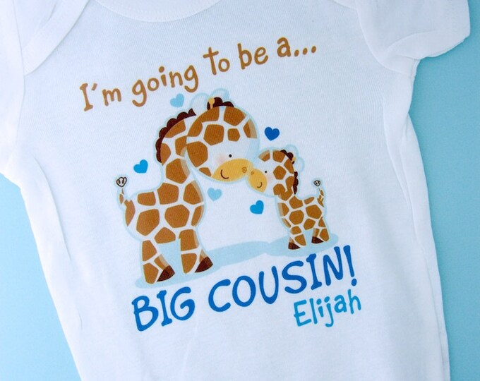 Boy's I'm Going to Be A Big Cousin Shirt, Big Cousin Onesie, Personalized Big Cousin t-Shirt, Giraffe Shirt with baby. (04042012c)