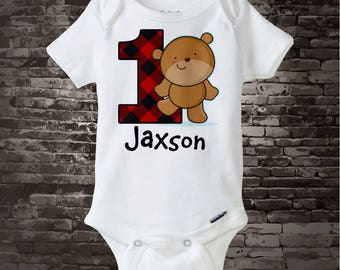 First Birthday Shirt or Onesie Bodysuit with cute little bear and buffalo plaid number 1, Lumberjack Plaid, Short or long sleeves 11082017a
