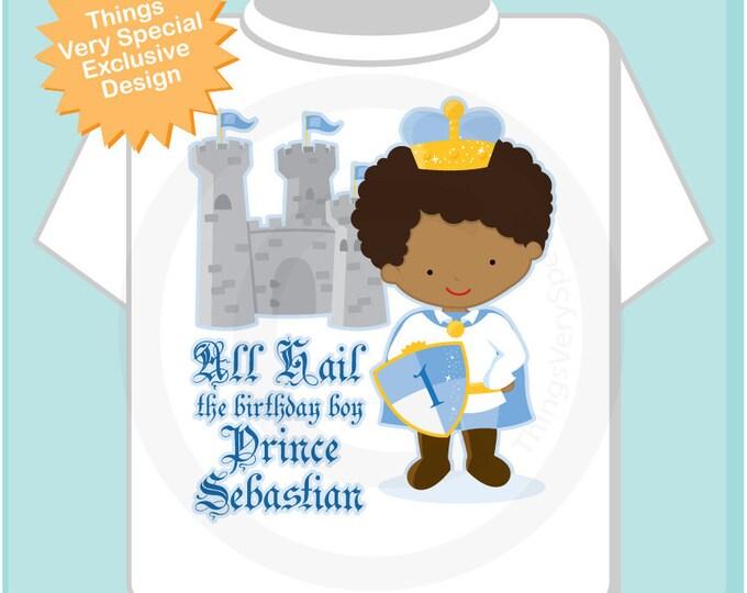 Birthday Shirt, African American Prince Birthday Shirt, Personalized Cute Prince Birthday Boy Tee Shirt or Onesie (05222012a)